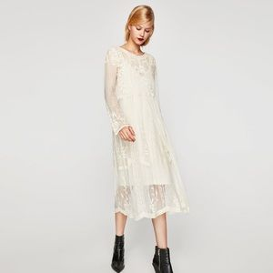7a495fde45f Zara Dresses - Zara white Embroidered Midi Lace Dress vintage